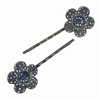 hair pins, floral filigree, antique bronze, 09146, hair clips, hair accessories, hair jewelry, hair findings, bobby pins, bronze finish, jewelry supplies, B'sue Boutiques