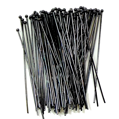 headpins, ball end head pins, jewelry making, medium weight head pins, standard size headpins, beading supplies, jewelry supplies, gunmetal, black headpins, 01619