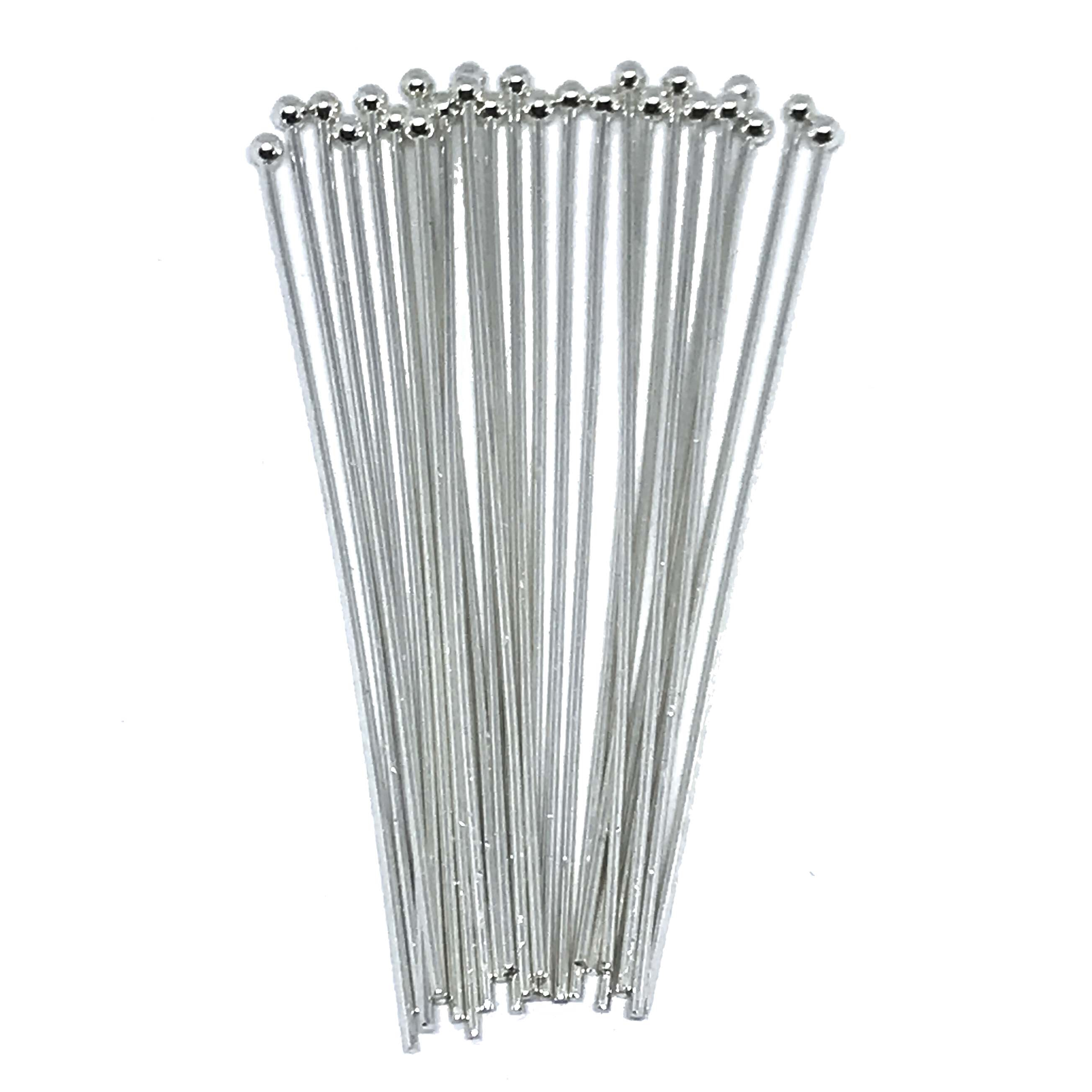 headpins, ball end head pins, jewelry making, medium weight head pins, standard size headpins, beading supplies, jewelry supplies, silverplate, bright silver, 01619