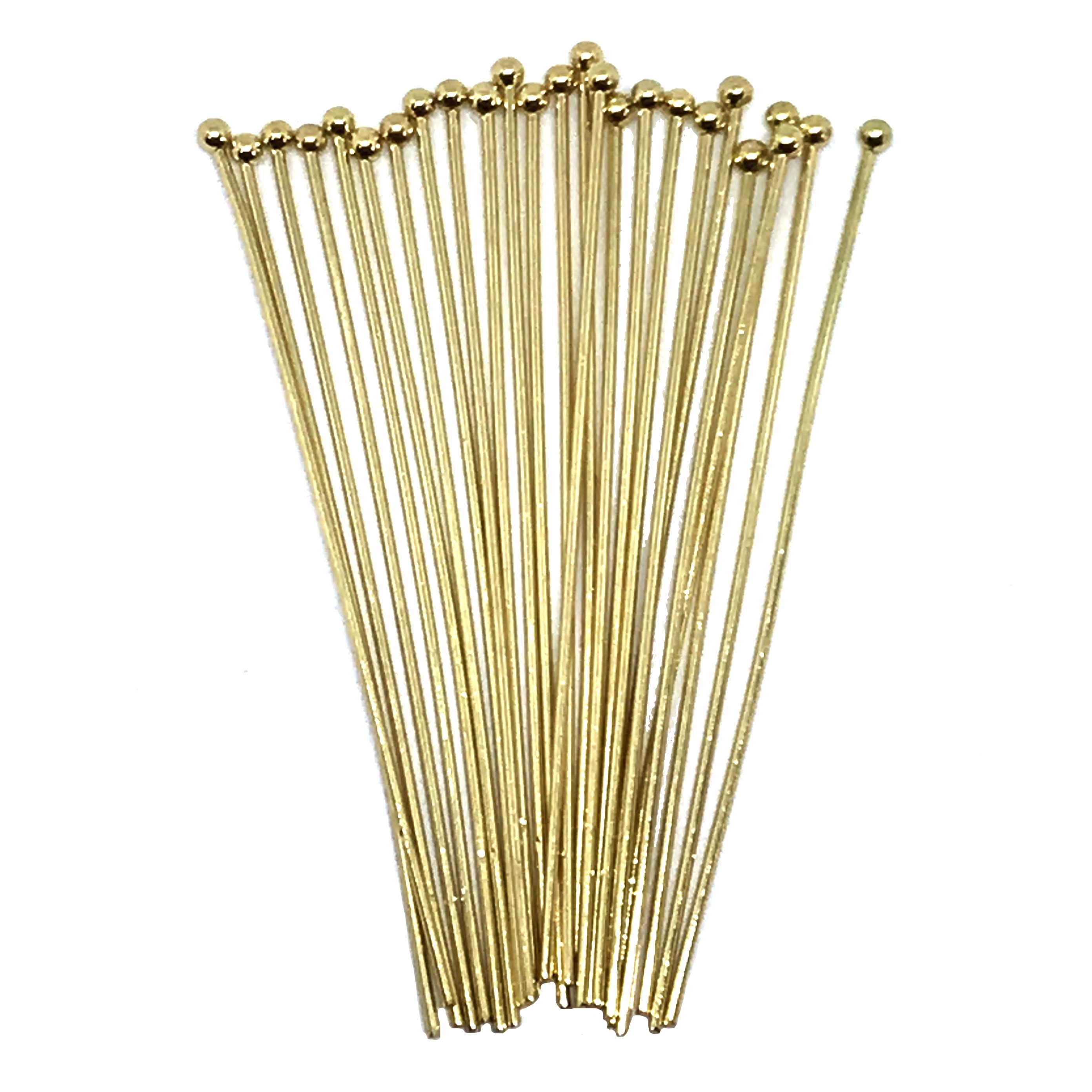 headpins, ball end head pins, jewelry making, medium weight head pins, standard size headpins, beading supplies, jewelry supplies, gold plate head pins, antique gold, 01626