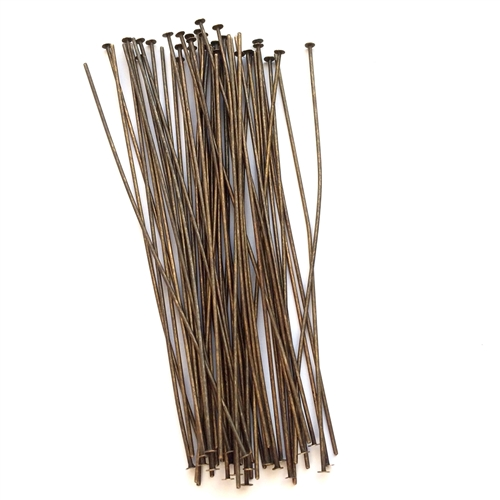 headpins, 3 inches, brass ox, 02499, dirty brass, rusted iron, jewelry making supplies, brass jewelry parts, brass headpins, vintage jewelry supplies