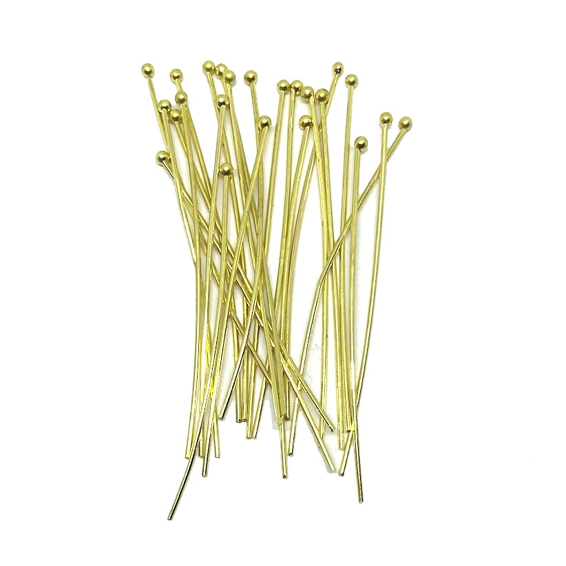 headpins, ball end head pins, jewelry making, light weight head pins, standard size headpins, beading supplies, jewelry supplies, gold tone, gold, 03320