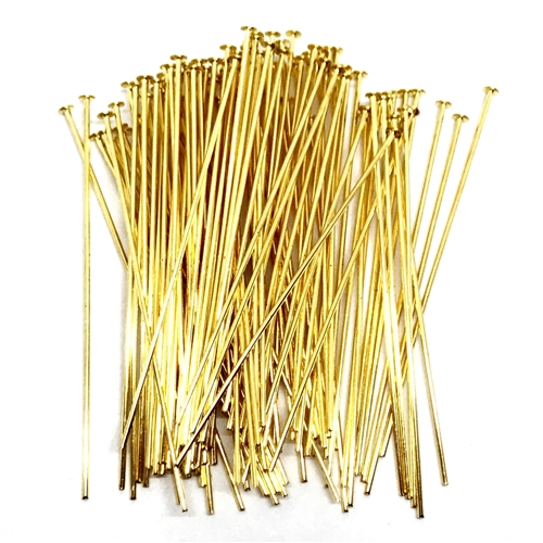 headpins, 2 inch headpins, gold plate, 04058, jewelry making supplies, vintage jewelry supplies, earring supplies, antique gold, US made, Bsue Boutiques, nickel free jewelry supplies