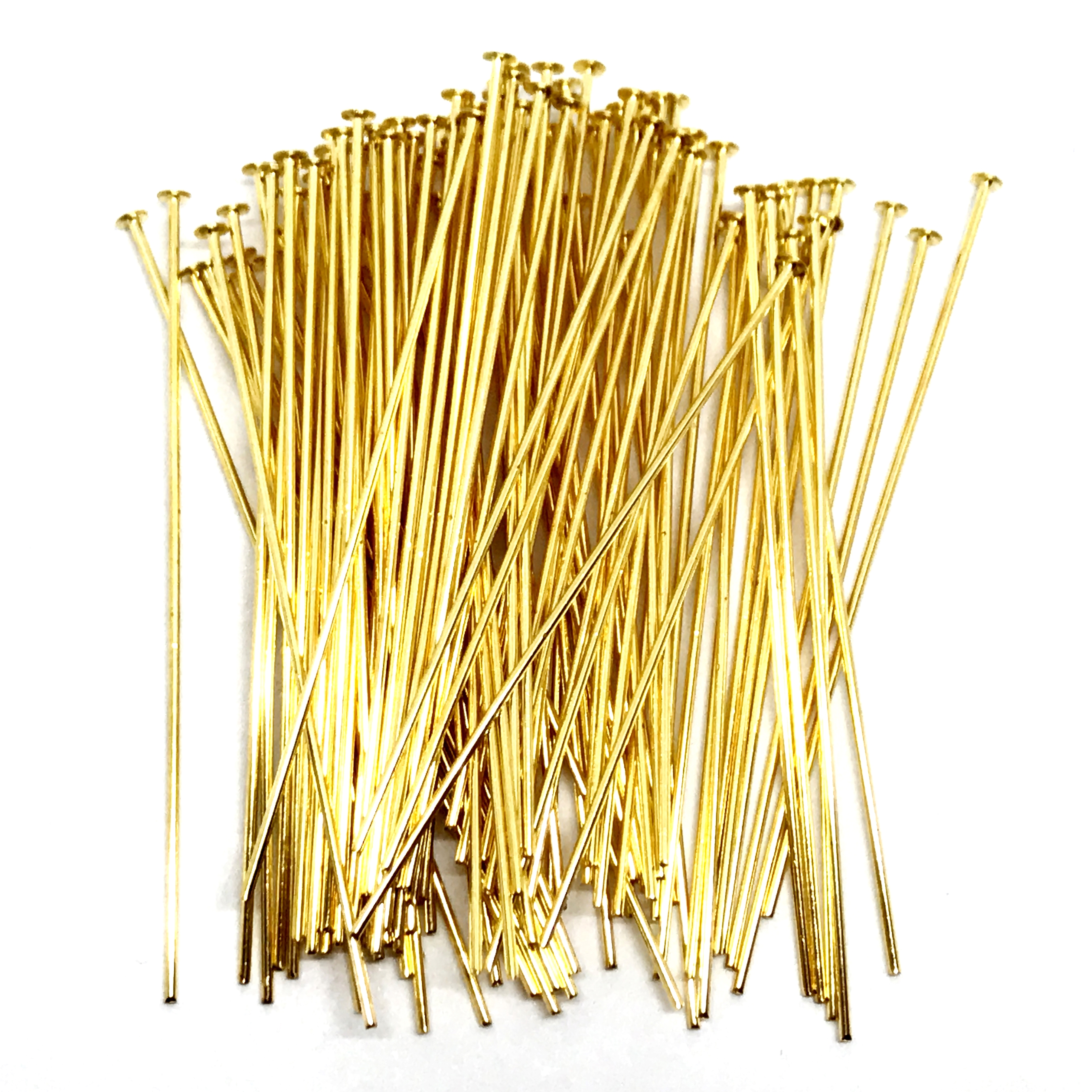 gold plated headpins, 2 inches, headpins, gold plated, jewelry supplies, 2 inches headpin, gold, vintage supplies, earring supplies, antique gold, US made, B'sue Boutiques, nickel free, jewelry supplies, jewelry findings, pins, gold headpins, 04058