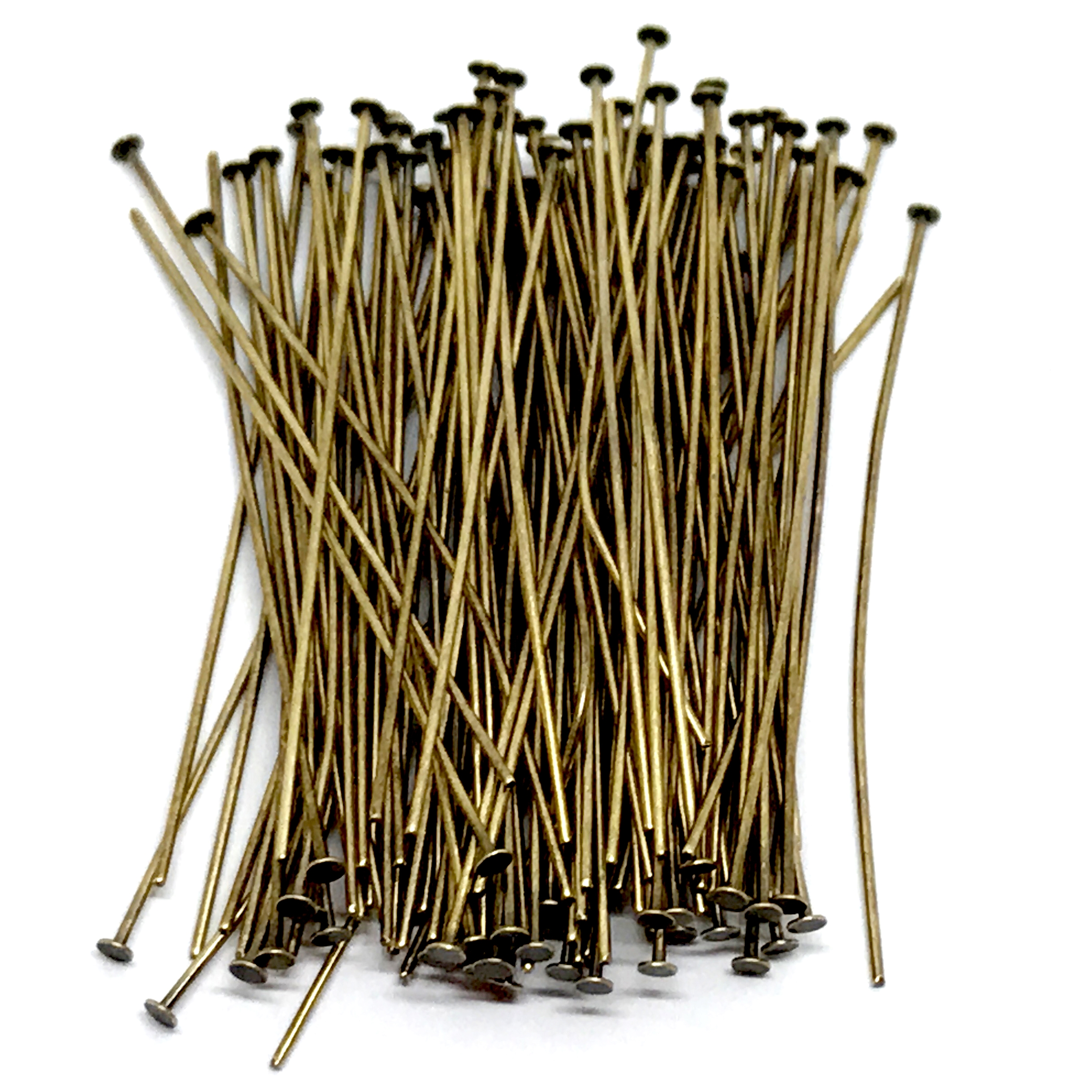 headpins, 2 inches, brass ox, 04081, brass ox, jewelry making supplies, brass jewelry parts, brass headpins, vintage jewelry supplies, beading supplies, brass findings, brass headpins, US made, nickel free, bsueboutiques