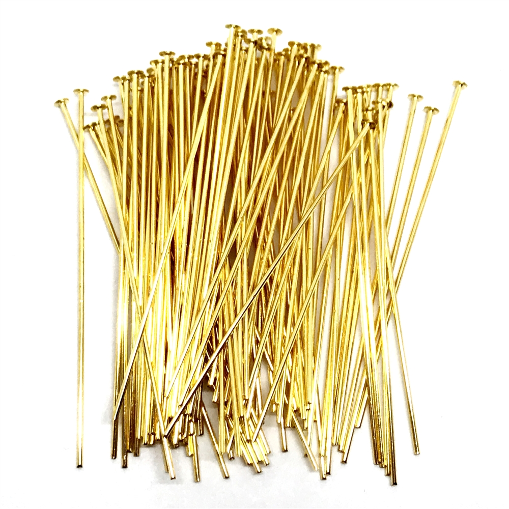 gold plated headpins, 2 inches, headpins, gold plated, jewelry supplies, 2 inches headpin, gold, vintage supplies, earring supplies, antique gold, US made, B'sue Boutiques, nickel free, jewelry supplies, jewelry findings, pins, gold headpins, 04348