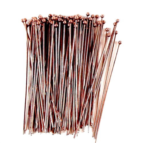 headpins, ball end head pins, jewelry making, medium weight head pins, standard size headpins, beading supplies, jewelry supplies, gold plate head pins, antique copper, 04635