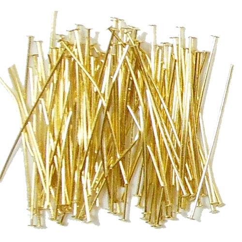 brass headpins, 1 1/2 inch headpins, gold plate, antique gold,  0648, B'sue Boutiques, nickel free jewelry supplies, US made jewelry supplies, vintage jewellery supplies, antique brass, beading supplies, ear ring supplies, 0648