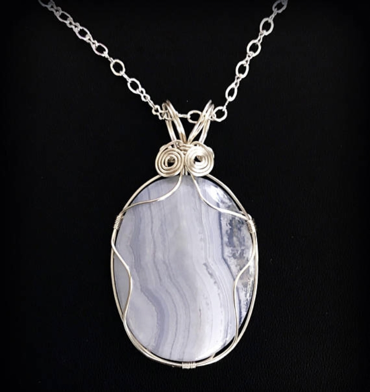 blue lace agate wire necklace, handmade, wire design, necklace ...
