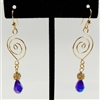 purple spiral wire earrings, handmade, wire design, spiral earrings, gold plated, wire earrings, dangle earrings, amethyst earrings, teardrop earrings, wire teardrop earrings, Javi's Wire, nickel free, Swarovski, glass beads, 2.5 inches, earrings, 06
