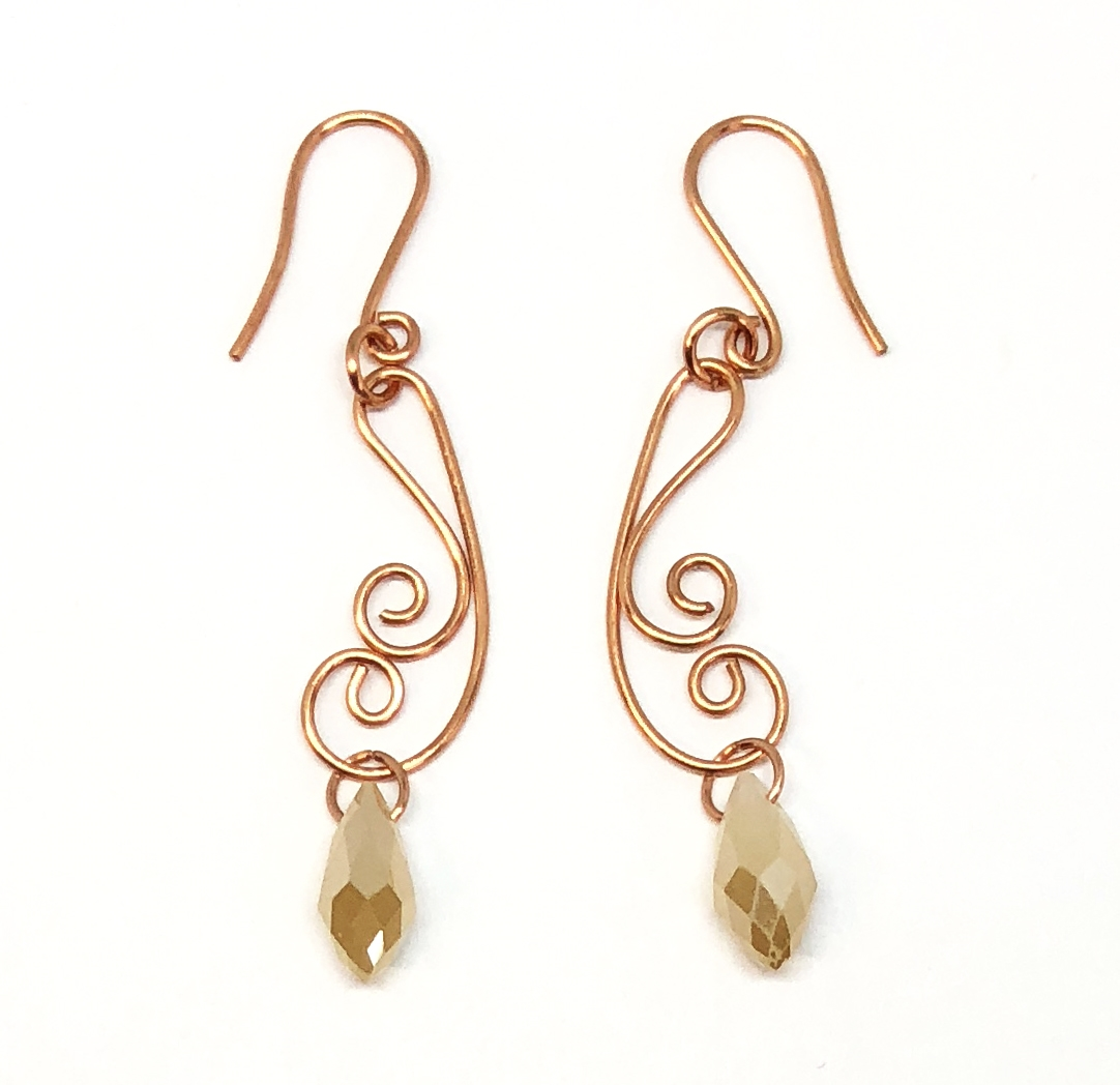 champagne copper wire earrings, handmade, wire design, copper ...