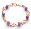 amethyst copper wire bracelet, handmade, wire design, bracelet, copper, copper bracelet, semi precious beads, wire bracelet design, amethyst bracelet, spiral wire clasp, design links, Javi's Wire, amethyst, wire, nickel free, glass beads, 7 inches, 08