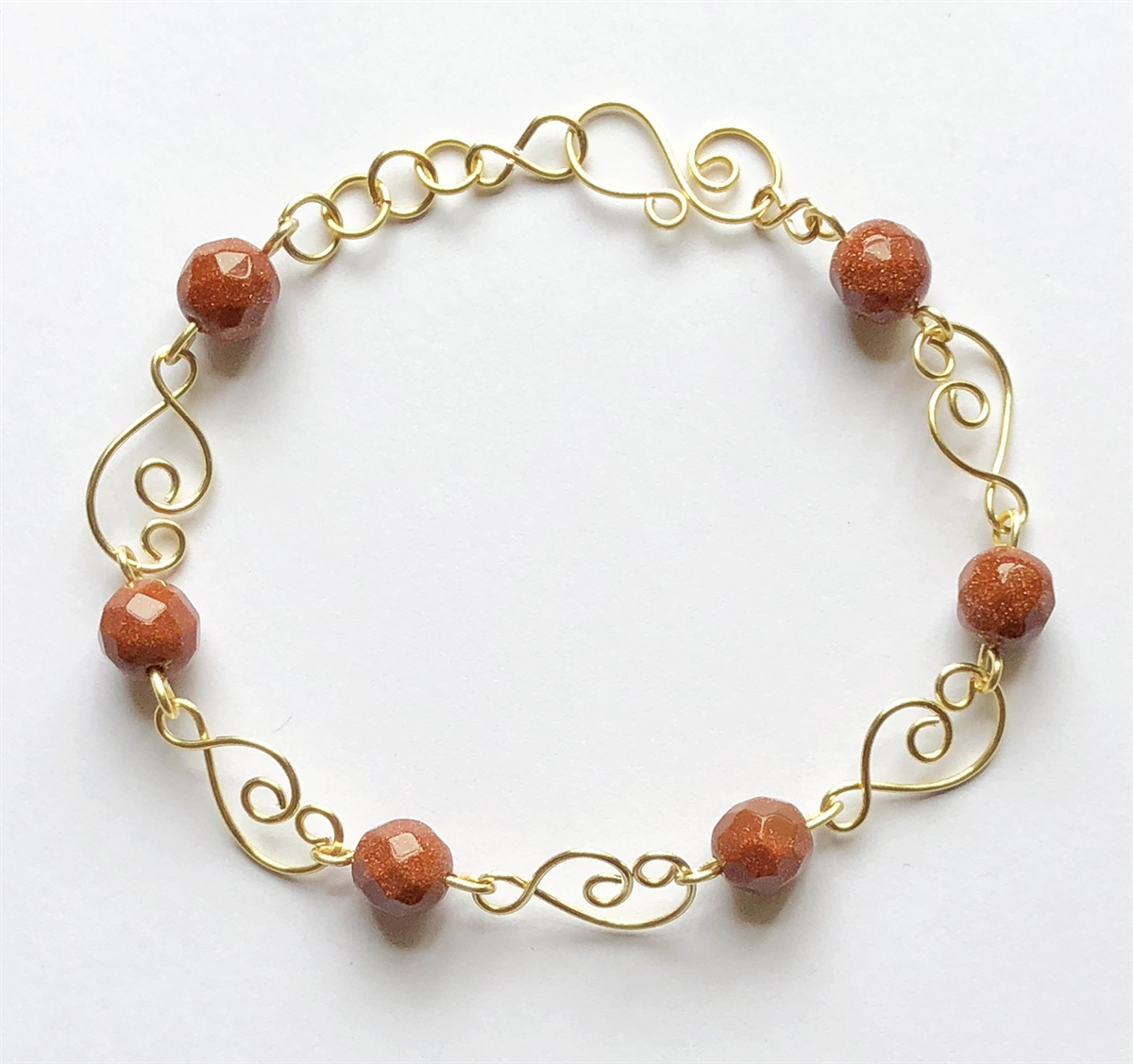 brown goldstone wire bracelet, handmade, wire design, bracelet, gold ...