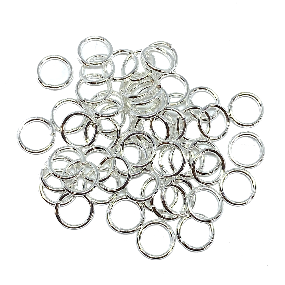 bright silver jump rings, jump rings, jumps, rings, bright silver, silver plated, silver, 8mm, 18 gauge, 50 pieces, US made, nickel free, B'sue Boutiques, jewelry supplies, jewelry findings, jewelry making, connectors, 02108
