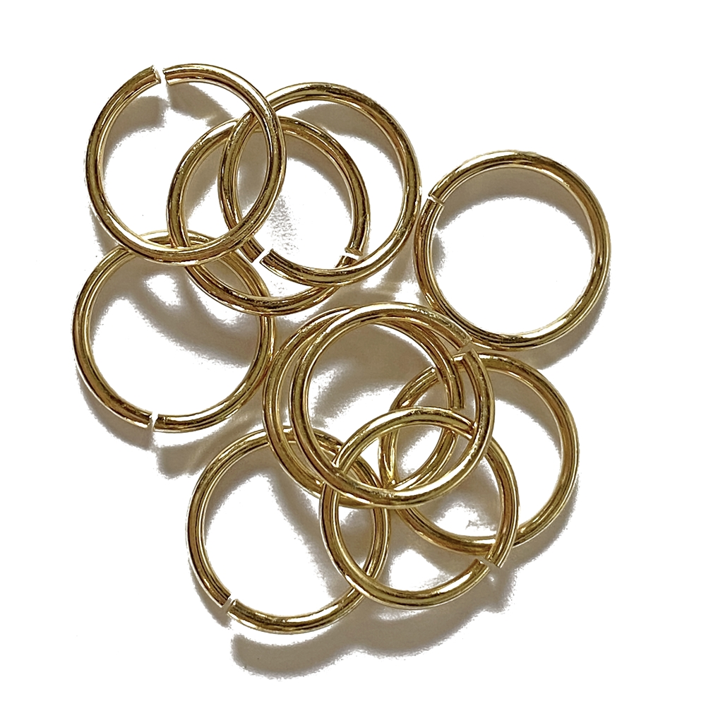 Heavy Jump Rings, 15 mm, 15 gauge, 02831, rich gold finish, B'sue Boutiques, Jewelry Supplies, extra large jump rings, thick jump rings, purse hardware, heavy silver jump rings, B'sue Boutiques, designer jump rings, dangling hoop earrings, purse hardware