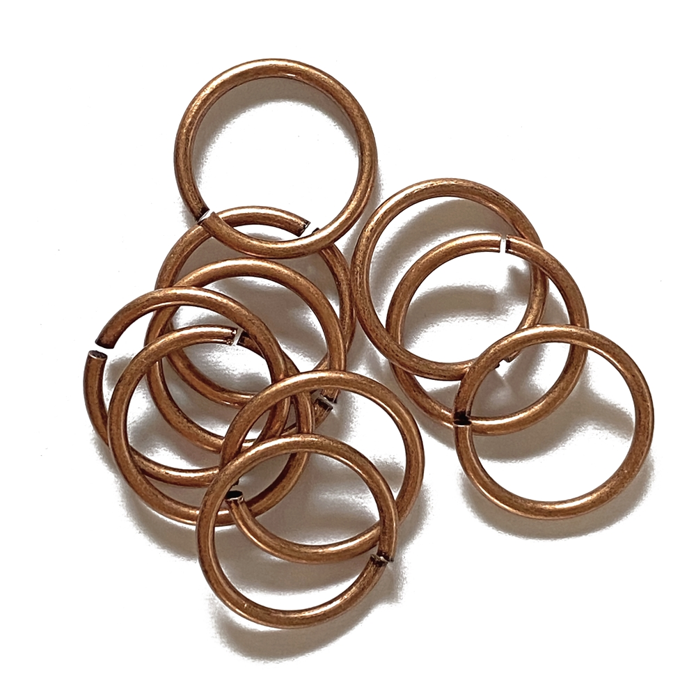 Heavy Jump Rings, 15 mm, 15 gauge, 02830, gingerbread finish, B'sue Boutiques, Jewelry Supplies, extra large jump rings, thick jump rings, purse hardware, heavy silver jump rings, B'sue Boutiques, designer jump rings, dangling hoop earrings,purse hardware