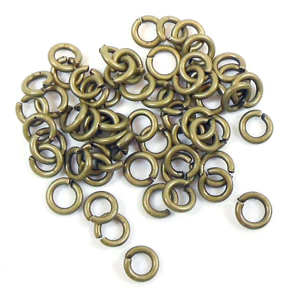 antique brass jump rings, jump rings, jumps, rings, 4mm, 18 gauge, antique brass, brass, 50 piece, antique, brass stamping, US made, nickel free, B'sue Boutiques, jewelry findings, vintage supplies, jewelry supplies, jewelry making, basic jewelry, 03512