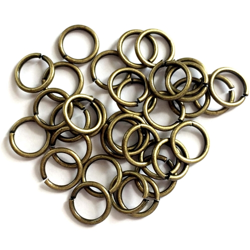 jump rings, jewelry supplies, 8mm, 18ga, jewelry making supplies, beading supplies, vintage jewelry supplies,  brass ox, antique brass