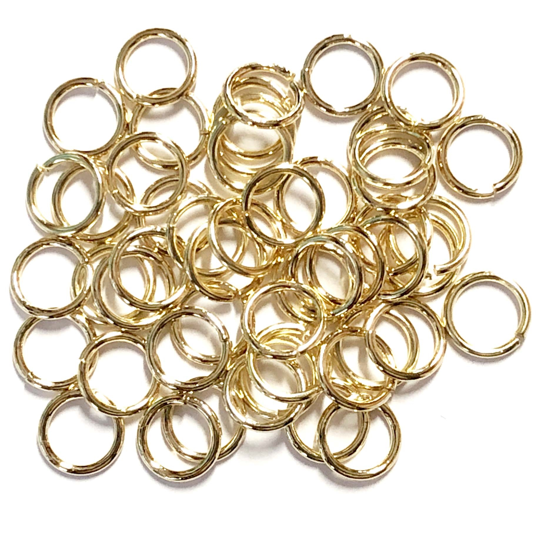 Gold Jump Rings, Jumps, Jump Rings, Gold, 8mm, 18 Gauge, Rings, Gold Plated jump rings, 50 pieces, Us Made, Nickel Free, B'sue Boutiques, Jewelry Findings, Vintage Supplies, Jewelry Supplies, 04115