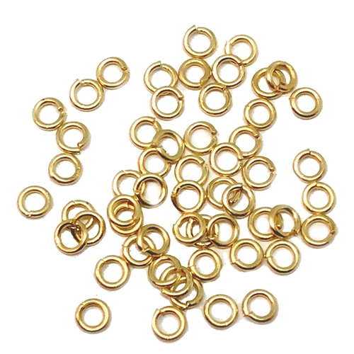 satin matte gold, jump rings, jump rings, jumps, rings, 3mm, 22 gauge, satin matte, 50 piece, antique, brass stamping, US made, nickel free, B'sue Boutiques, jewelry findings, vintage supplies, jewelry supplies, jewelry making, basic jewelry, 05251