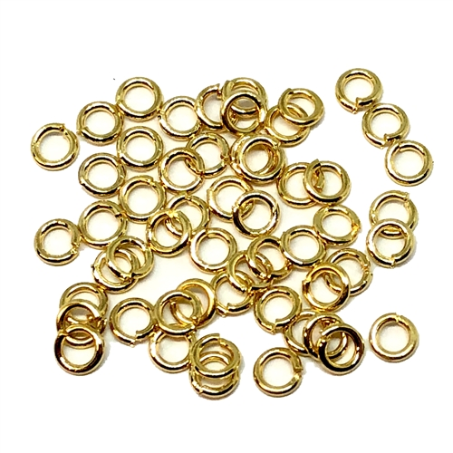 gold plated jump rings, jump rings, jumps, rings, gold plated, antique gold plated, gold, 3mm, 22 gauge, 50 pieces, brass stamping, US made, nickel free, B'sue Boutiques, jewelry supplies, jewelry findings, jewelry making, connectors, basic jewelry, 05254