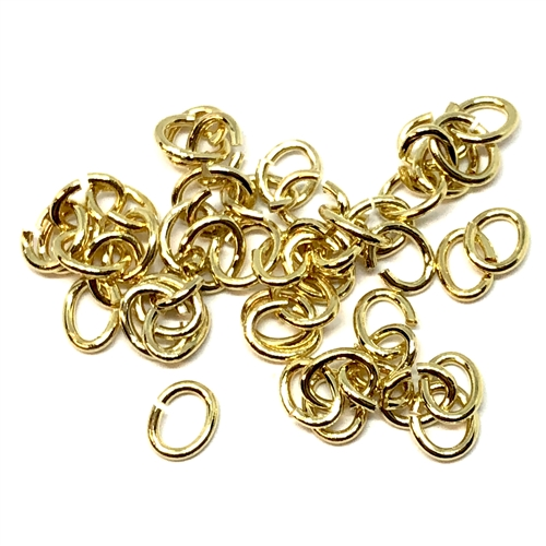 jump rings, jewelry supplies, 5 X 4mm, gold plate, vintage jewelry supplies, jewelry making supplies, jewelry connectors, 05255, antique gold