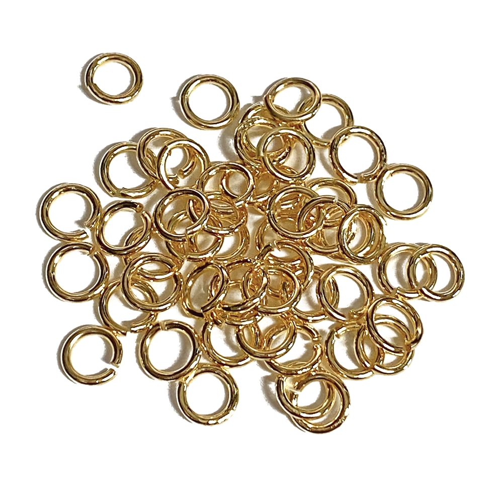Satin Matte Gold Jump Rings, Jump Rings, Jumps, Rings, Satin Matte, Gold Plate, Antique, Antique Gold Plate, Gold, 6mm, 18 Gauge, 50 pieces, Brass Stamping, Satin Matte Gold, Us Made, Nickel Free, B'sue Boutiques, Jewelry Supplies, Jewelry Findings, 05651