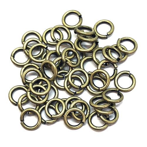 antique brass jump rings, jump rings, jumps, rings, antique brass, 6mm, 18 gauge, 50 pieces, US made, nickel free, B'sue Boutiques, jewelry supplies, jewelry findings, jewelry making, ring findings, jump ring findings, brass findings, brass, 05826