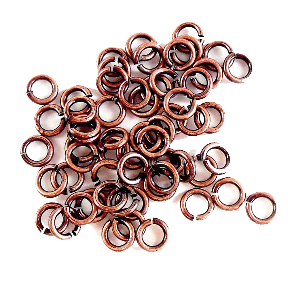 brass jump rings, antique copper, 4mm, 18ga, 07527, brass jewelry supplies, vintage jewellery supplies, jewelry making, B'sue Boutiques, nickel free, US made