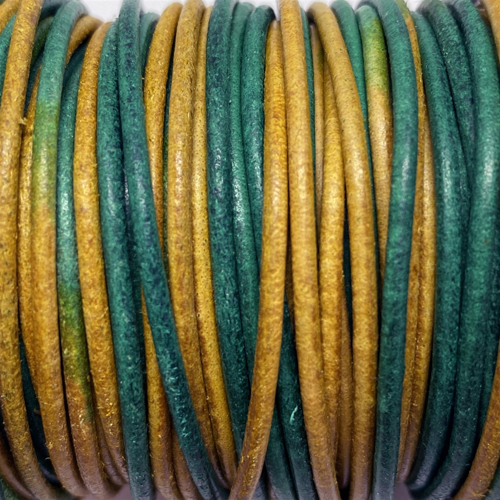 gypsy dyed Indian leather, round beading jewelry, craft cord, leather cord, green turquoise and goldenrod yellow, jewelry leather, jewelry cord, 2mm thick, jewelry making, vintage supplies, jewelry leather cord, jewelry supplies, B'sue Boutiques, 02068