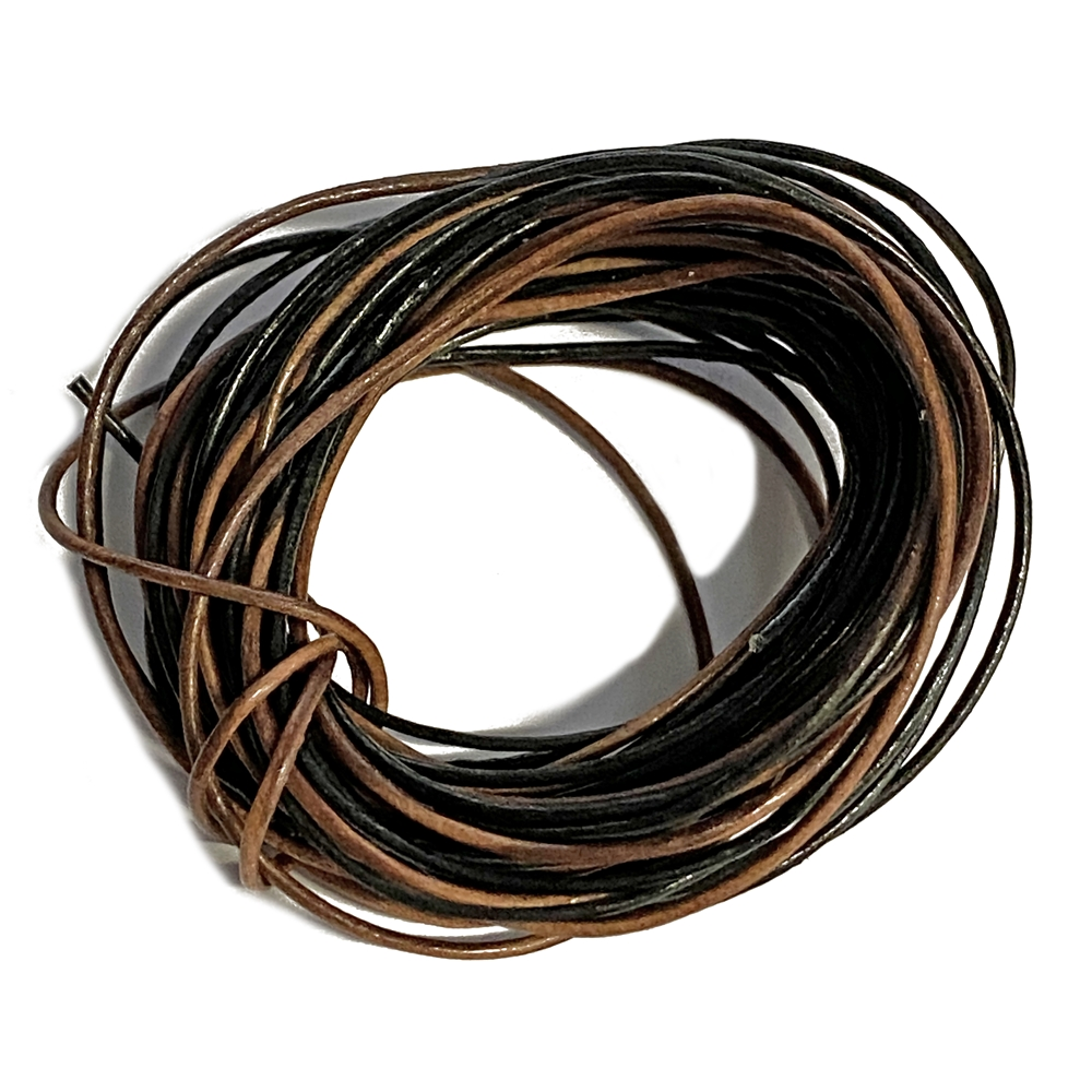 brown & black Indian leather cord, round beading jewelry, craft cord, leather cord, jewelry leather, cow leather, jewelry cord, 1mm thick, jewelry making, vintage supplies, jewelry leather cord, jewelry supplies, B'sue Boutiques, 1mm think cord, 02776