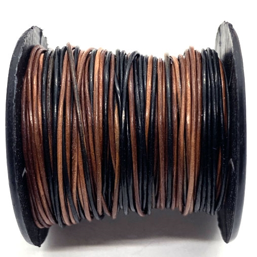 brown & black Indian leather cord, round beading jewelry, craft cord, leather cord, jewelry leather, cow leather, jewelry cord, .5mm thick, jewelry making, vintage supplies, jewelry leather cord, jewelry supplies, B'sue Boutiques, 1/2 mm think cord, 04386