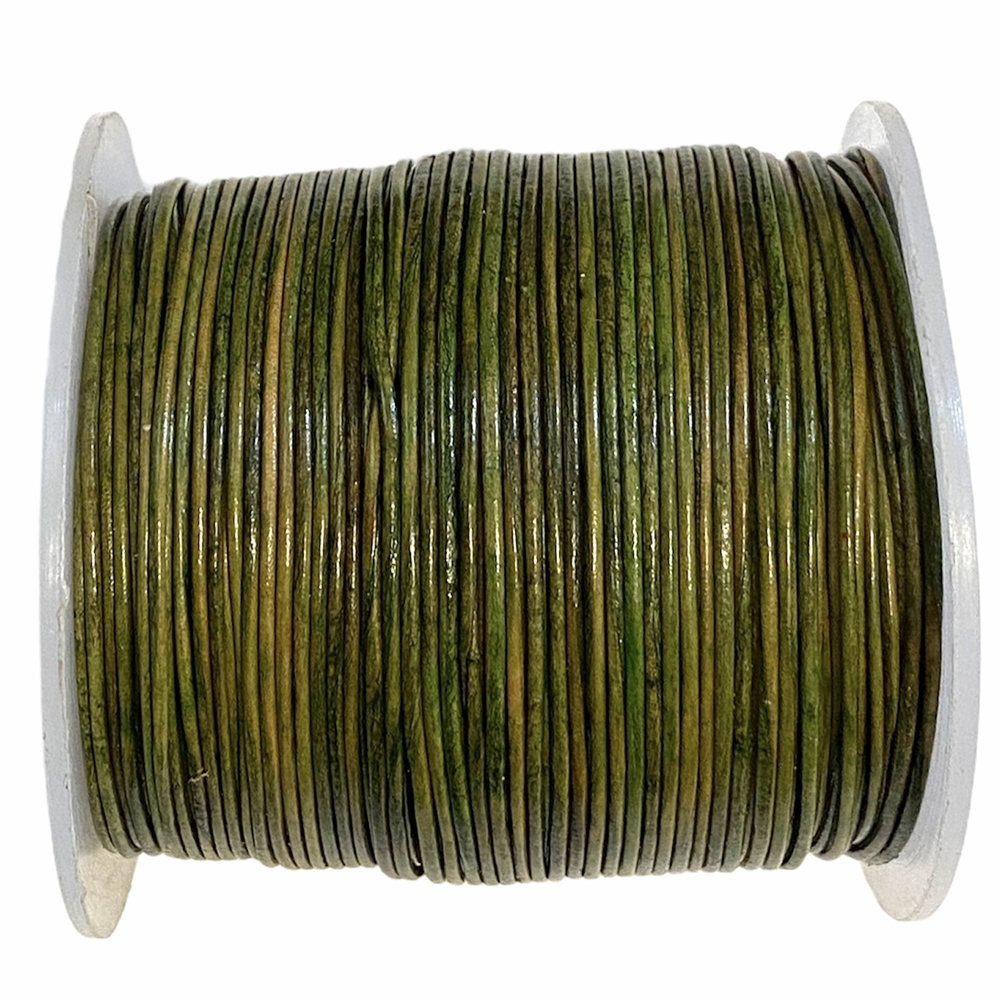 Natural green Indian leather, round beading jewelry, craft cord, leather cord, green,  jewelry leather, leather, jewelry cord, 0.5mm thick, jewelry making, vintage supplies, jewelry leather cord, jewelry supplies, B'sue Boutiques, 05106