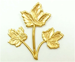 maple leaves, triple stem leaves, raw brass, 01062, B'sue Boutiques, nickel free jewelry supplies, US made jewelry supplies, vintage jewellery supplies, leaf findings,