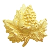 Brass Stampings, Grapevine Leaf and Grape Cluster, Raw Brass, 43 x 43mm