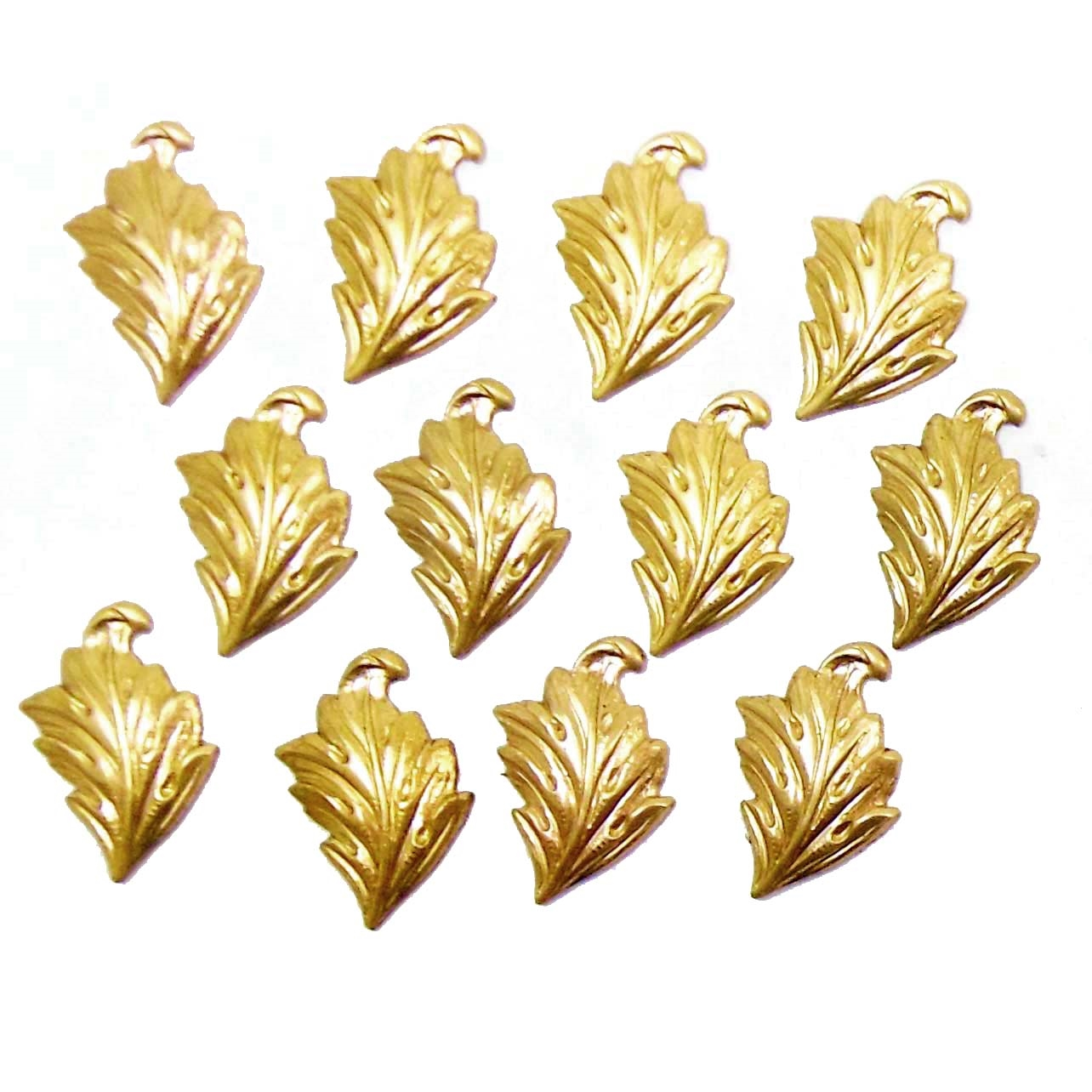 brass leaves, leaf stampings, jewelry supplies, right facing, raw brass, 01314, B'sue Boutiques, US made jewelry supplies, vintage jewellery supplies, nickel free jewelry supplies, antique brass, leaf accents