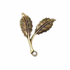 leaf sprig, brass ox, 01585, right facing, leaves, pendant, charm, leaf charm, charms, antique brass, B'sue Boutiques, jewelry supplies, jewelry making