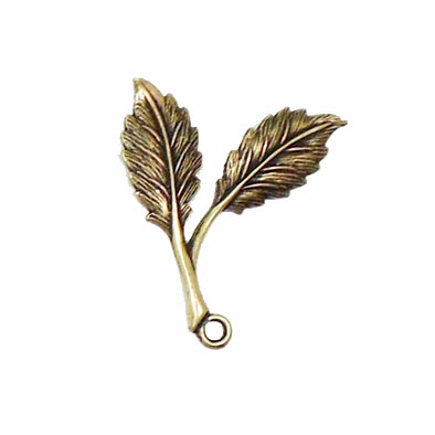 Double Leaf Sprig, Pendant Style, Brass Ox, Right Facing,  Us Made, Nickel Free, 31 x 25mm