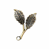Double Leaf Sprig, Pendant Style, Brass Ox, Left Facing,  Us Made, Nickel Free, 31 x 25mm