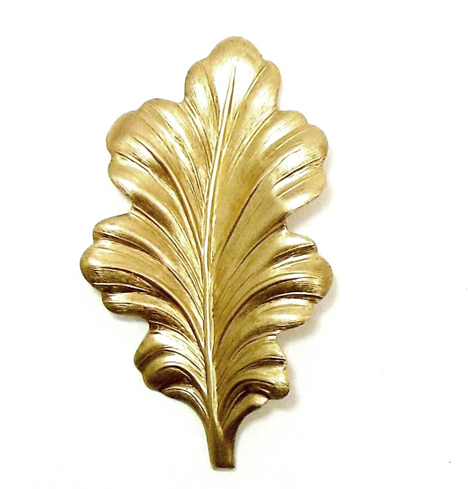 brass leaves, brass leaf stamping, 01855, jewelry making supplies, vintage jewelry supplies, nickel free, US made, bsueboutiques, large leaf stampings, mixed media supplies, leaf findings, leaf base,