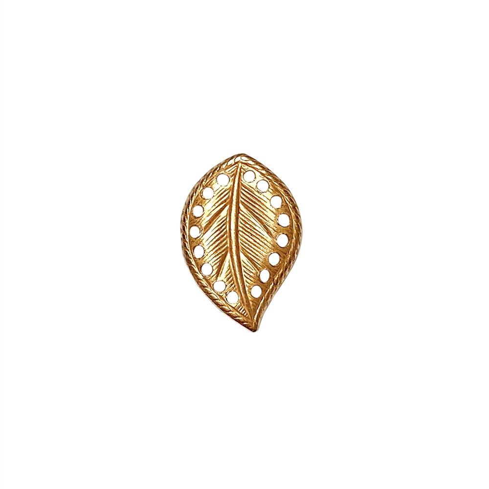 brass leaves, right-facing beading leaf, jewelry supplies, 18x13mm, classic gold, vintage supplies, jewelry making, jewelry supplies, US-made, nickel-free, B'sue Boutiques, antique gold, curved leaves, leaf, right-facing leaf, 02273