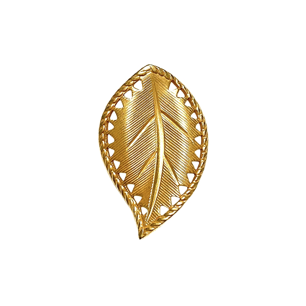 brass leaves, left-facing beading leaf, jewelry supplies, 29x18mm, classic gold, vintage supplies, jewelry making, jewelry supplies, US-made, nickel-free, B'sue Boutiques, antique gold, curved leaves, leaf, left-facing leaf, 02278