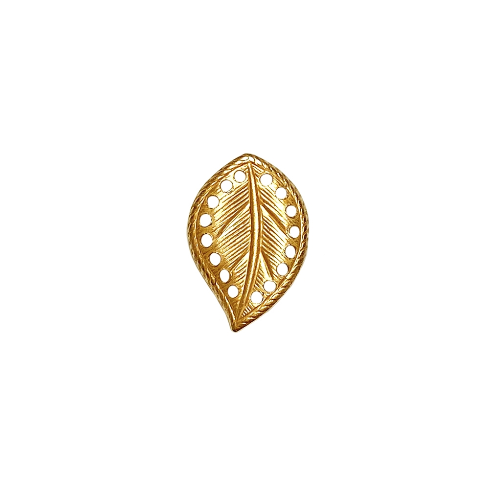 brass leaves, left-facing beading leaf, jewelry supplies, 18x13mm, classic gold, vintage supplies, jewelry making, jewelry supplies, US-made, nickel-free, B'sue Boutiques, antique gold, curved leaves, leaf, left-facing leaf, 02279