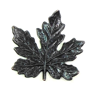 brass leaves, jewelry making, matte black, 02293, B'sue Boutiques, nickel free jewelry supplies, US made jewelry supplies, vintage jewellery supplies, altered art jewelry, antique black, 21mm