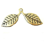Brass Leaves, Double Stem, Pendant Style, Brass Ox, 21 x 44mm