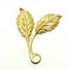Smaller Double Leaf Sprig, Pendant Style, Right Facing, Raw Brass, 19 x 16mm
