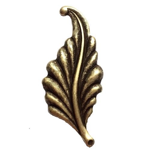 leaf stamping, brass ox, left facing, curved, brass, curved leaf, curved style, antique brass, leaf, 31mm, left, brass stamping, us made, nickel free, B'sue Boutiques, jewelry making, jewelry supplies, vintage supplies, jewelry findings, 02888
