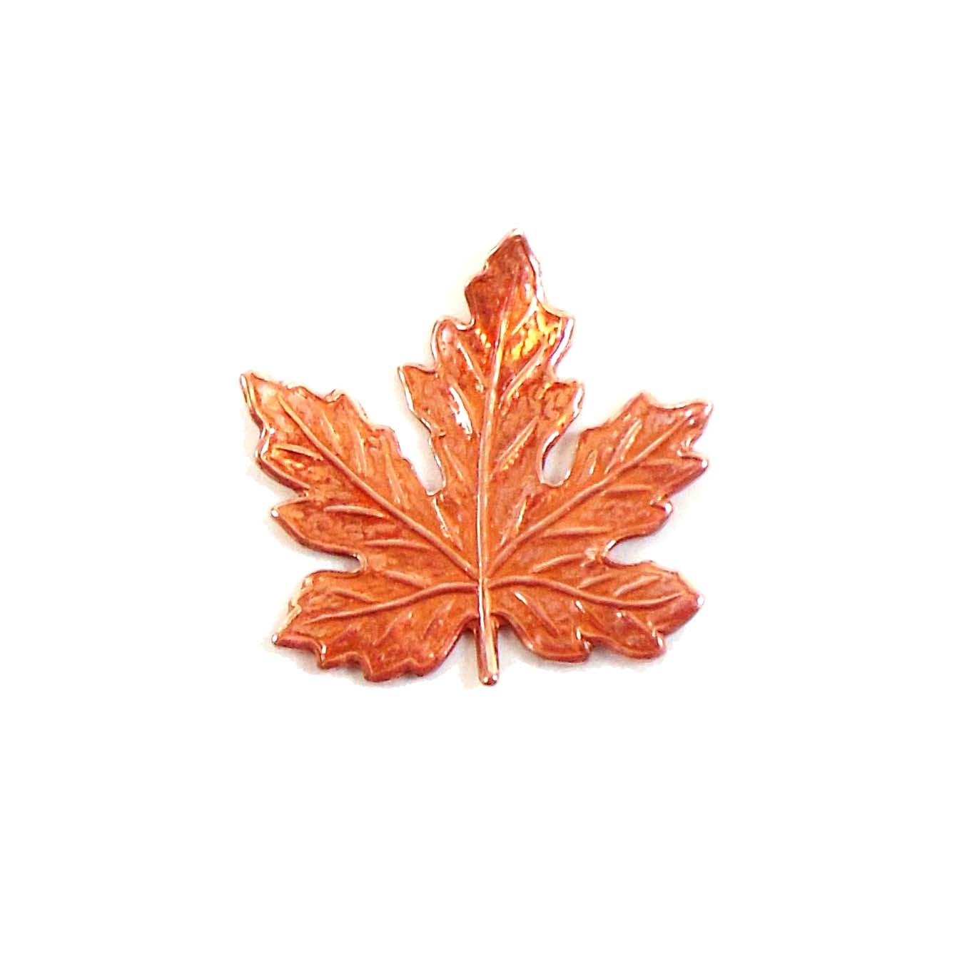 brass leaves, jewelry making,rosy copper, 02904, B'sue Boutiques, nickel free jewelry supplies, US made jewelry supplies, vintage jewellery supplies, altered art jewelry, maple leaves, antique copper, 21mm