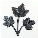brass leaves, triple leaf stem, matte black, 02946, B'sue Boutiques, nickel free jewelry supplies, US made jewelry supplies, vintage jewellery supplies, jewelry making supplies, ebony black, maple leaves