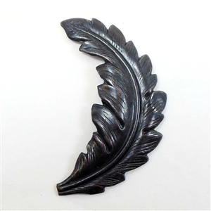 Brass Leaves, Leaf Stampings, Curved Leaf, Matte Black Ebony, 57mm